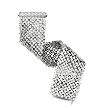 PICCHIOTTI 18CT WHITE GOLD ROUND BRILLIANT CUT DIAMOND FLEXIBLE BRACELET