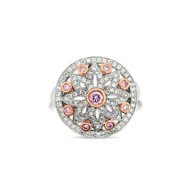 ARGYLE PINK DIAMOND AND WHITE DIAMOND DRESS RING SET IN 18CT WHITE GOLD