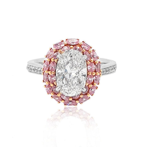 1.71CT ARGYLE PINK DIAMOND OVAL SHAPED HALO RING