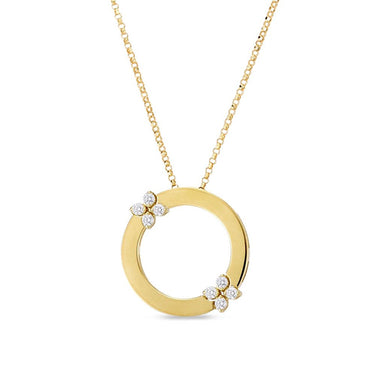 ROBERTO COIN LOVE IN VERONA 18CT YELLOW GOLD DIAMOND CIRCLE NECKLACE