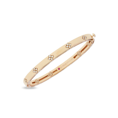 ROBERTO COIN LOVE IN VERONA 18CT ROSE GOLD & DIAMOND BANGLE