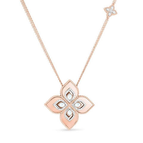 ROBERTO COIN PRINCESS FLOWER 18CT ROSE AND WHITE GOLD MOTHER OF PEARL AND DIAMOND NECKLACE