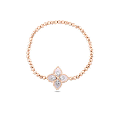 ROBERTO COIN PRINCESS FLOWER 18CT ROSE & WHITE GOLD MOTHER OF PEARL & DIAMOND BRACELET