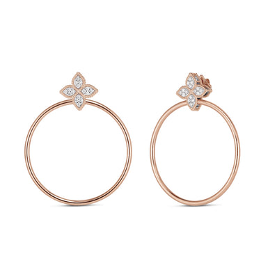 ROBERTO COIN PRINCESS FLOWER 18CT ROSE & WHITE GOLD DIAMOND HOOP EARRINGS