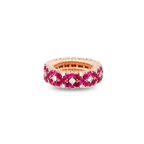 ROBERTO DEMEGLIO CASHMERE 18CT ROSE GOLD RUBY AND DIAMOND STRETCH RING