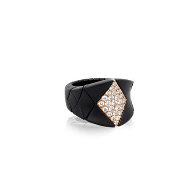ROBERTO DEMEGLIO DIVA BLACK CERAMIC, 18CT ROSE GOLD AND BROWN DIAMOND STRETCH RING