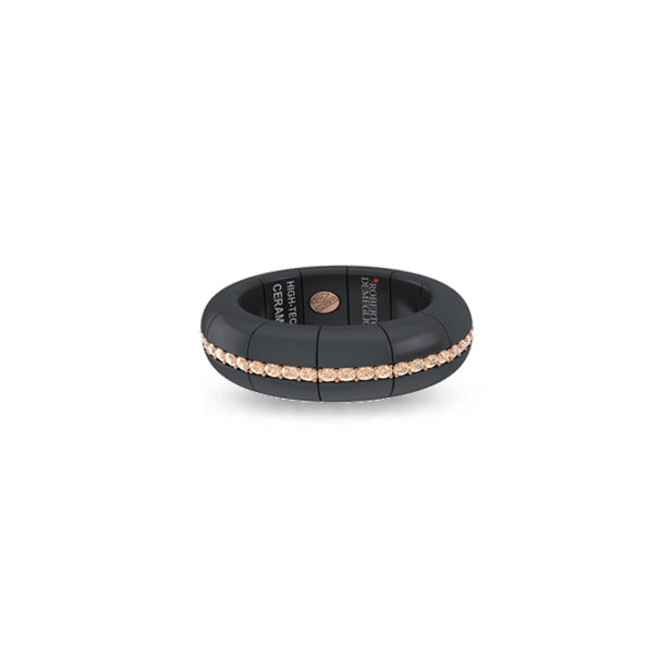 ROBERTO DEMEGLIO PURA ROSE GOLD AND BROWN DIAMOND, MATTE BLACK CERAMIC RING