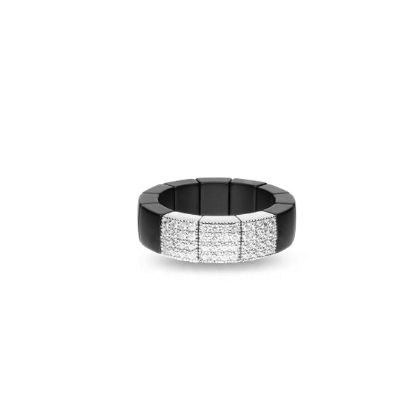 ROBERTO DEMEGLIO SCACCO 18CT WHITE GOLD DIAMOND AND MATTE BLACK CERAMIC STRETCH RING