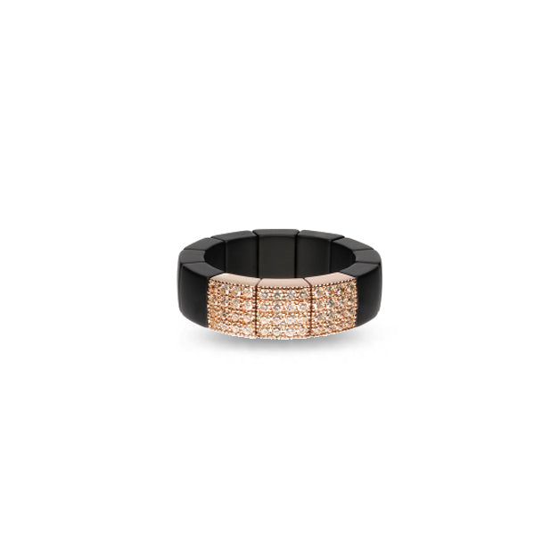 ROBERTO DEMEGLIO SCACCO 18CT ROSE GOLD BROWN DIAMOND & MATTE BLACK CERAMIC RING