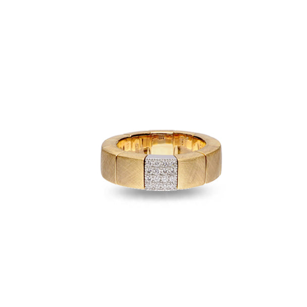 ROBERTO DEMEGLIO SCACCO ORO 18CT MATTE YELLOW AND WHITE GOLD DIAMOND STRETCH RING