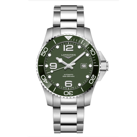 LONGINES HYDRO CONQUEST AUTOMATIC STEEL  KHAKI GREEN DIAL 43MM