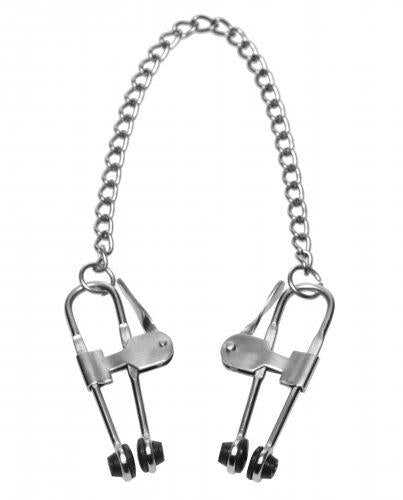 Intensity Nipple Press Clamps With Chain Metal Silver