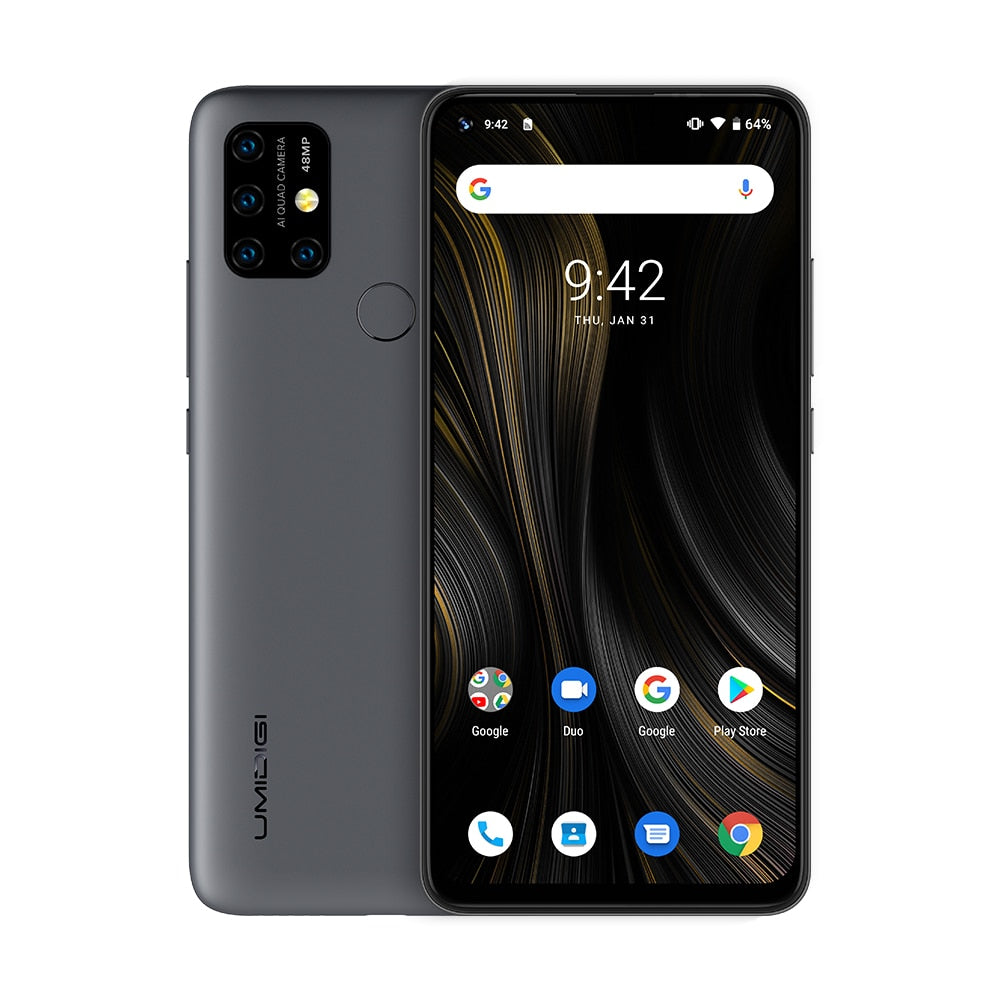 "UMIDIGI Power 3 48MP Quad AI Camera 6150mAh Android 10 6.53 ""FHD + 4GB64GB NFC téléphone portable Triple fentes 10W FastReverse Charging"