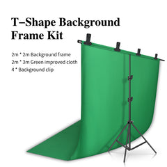 2m*2m Photography Backdrop T-shaped Background Support Stand System Metal backgrounds with 2m*3m Backdrop for photo studio
