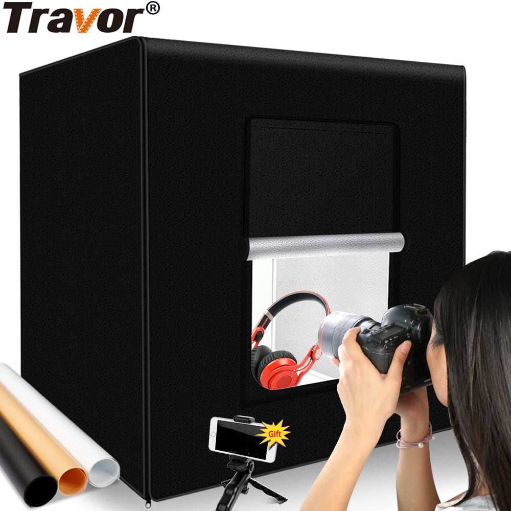 Travor Photography Studio lightbox 60 cm 48W photo light tent Tabletop Shooting SoftBox with 3 colors background Photo box