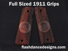 Load image into Gallery viewer, Cocobolo full sized 1911 grips laser engraved with a Spartan Helm over a stippled background