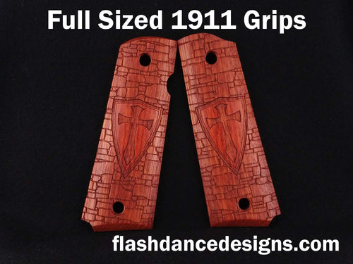 Bloodwood full sized 1911 grips laser engraved with a crusader shield over a castle wall background