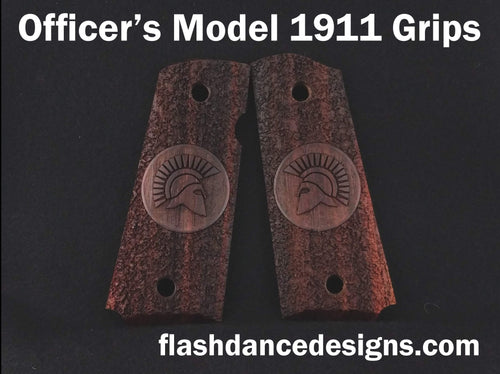 Cocobolo officer's model 1911 grips laser engraved with a Spartan helmet over a stippled background