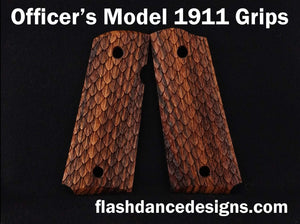 Zebrawood officer's model 1911 grips laser engraved with three-dimensional snake scales