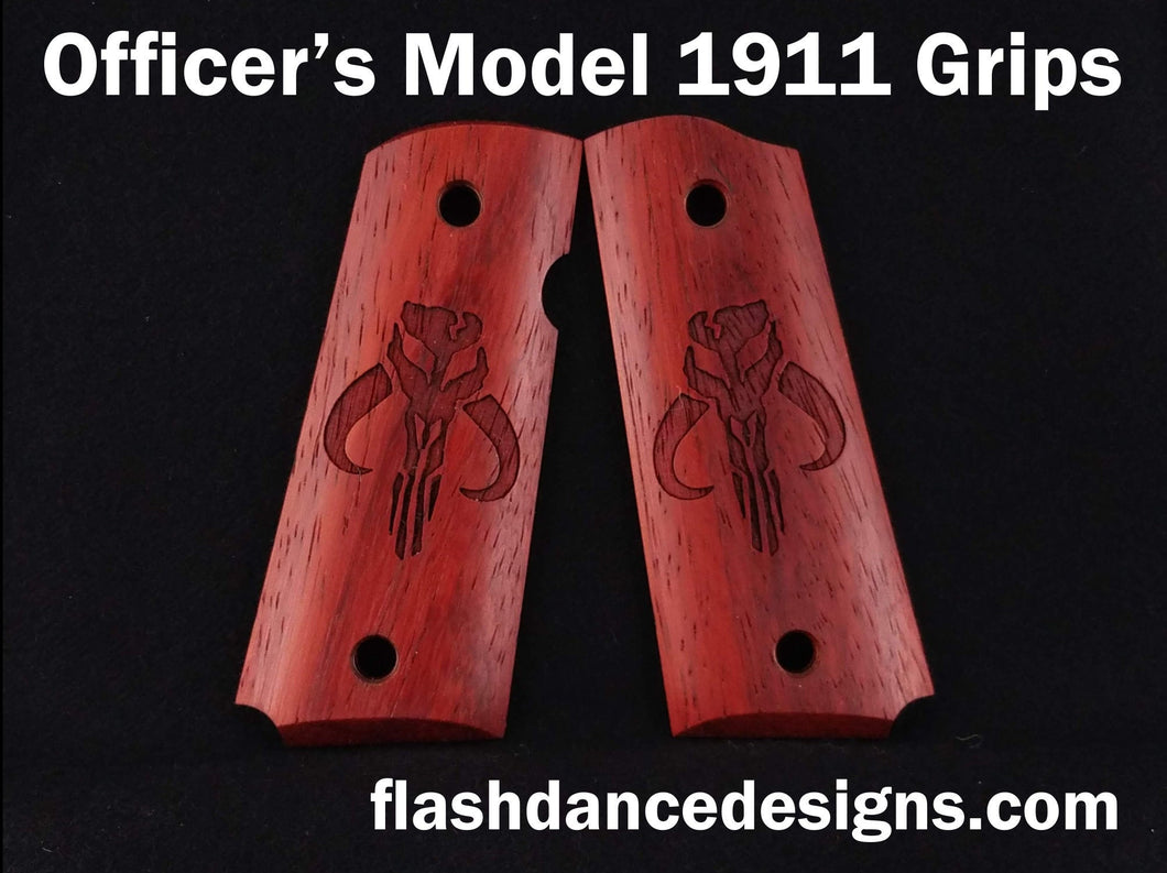 Padauk officer's model 1911 grips laser engraved with a popular bounty hunter logo