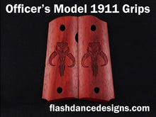 Load image into Gallery viewer, Padauk officer's model 1911 grips laser engraved with a popular bounty hunter logo