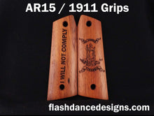 Load image into Gallery viewer, Walnut AR 1911 grips laser engraved with the Virginia state seal and an inspirational message
