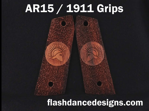 Granadillo AR 1911 grips laser engraved with a Spartan Helm over a stippled background