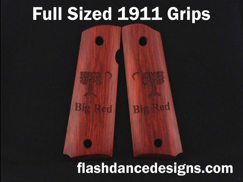 Bloodwood full sized 1911 grips laser engraved with the Big Red Flag of the Citadel