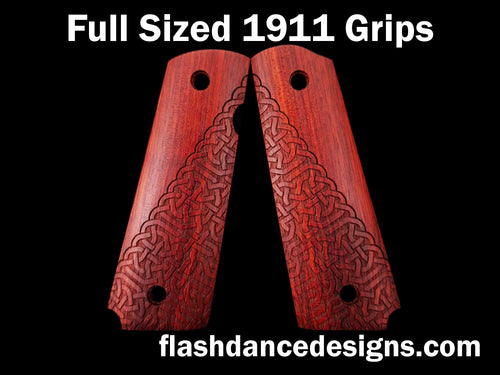 Bloodwood full sized 1911 grips laser engraved with a partial Celtic knotwork design