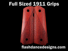 Load image into Gallery viewer, Bloodwood full sized 1911 grips laser engraved with a partial Celtic knotwork design