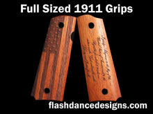 Load image into Gallery viewer, Walnut full sized 1911 grips laser engraved with a US Flag and the Pledge of Allegiance