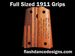 Walnut full sized 1911 grips laser engraved with a US Flag and the Pledge of Allegiance