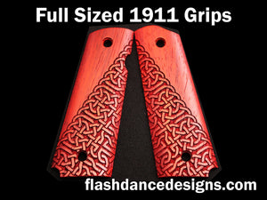 Padauk full sized 1911 grips laser engraved with a partial Celtic knotwork design