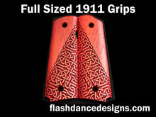 Load image into Gallery viewer, Padauk full sized 1911 grips laser engraved with a partial Celtic knotwork design