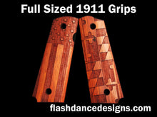Load image into Gallery viewer, Walnut full sized 1911 grips laser engraved with the US flag and the Maryland flag