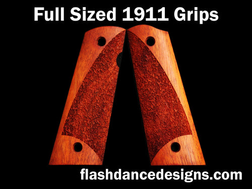 Bloodwood full sized full coverage 1911 grips laser engraved with a partial stipple design