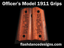 Load image into Gallery viewer, Walnut officer's model 1911 grips laser engraved with We the People