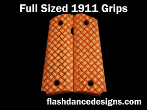 Maple full sized 1911 grips laser engraved with three-dimensional basketweave