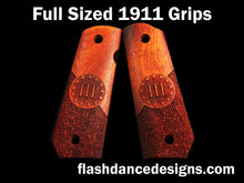 Load image into Gallery viewer, Bloodwood bobbed full sized 1911 grips laser engraved with a Three Percenter design over partial stipple background
