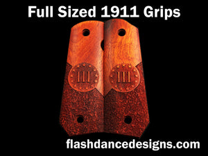 Bloodwood bobbed full sized 1911 grips laser engraved with a Three Percenter design over partial stipple background