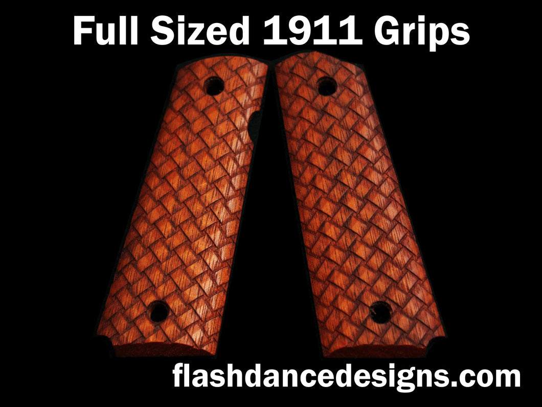 Walnut full sized 1911 grips laser engraved with three-dimensional basketweave