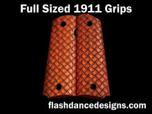 Load image into Gallery viewer, Walnut full sized 1911 grips laser engraved with three-dimensional basketweave
