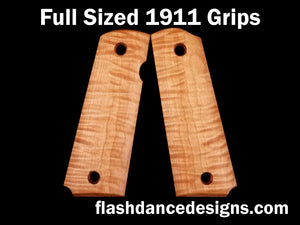 Tiger stripe maple full sized 1911 grips