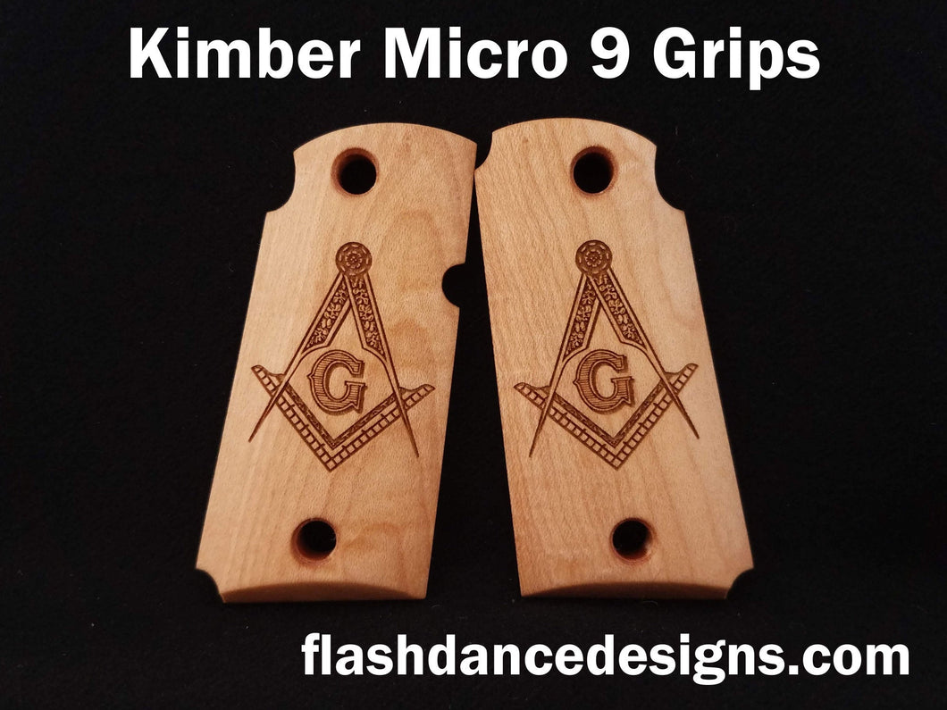 Maple Kimber Micro 9 grips laser engraved with the Masonic Square and Compasses