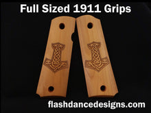 Load image into Gallery viewer, Boxwood full sized 1911 grips laser engraved with Thor's hammer, Mjölnir