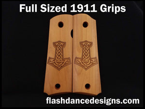 Boxwood full sized 1911 grips laser engraved with Thor's hammer, Mjölnir