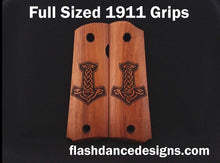 Load image into Gallery viewer, Walnut full sized 1911 grips laser engraved with Thor's hammer, Mjölnir