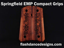 Load image into Gallery viewer, Marblewood Springfield EMP Compact grips laser engraved with We the People over a US flag background