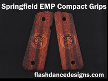 Load image into Gallery viewer, Marblewood Springfield EMP Compact grips laser engraved with a Spartan helmet over a stippled background