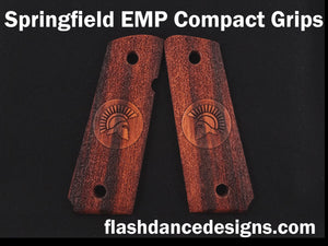 Marblewood Springfield EMP Compact grips laser engraved with a Spartan helmet over a stippled background